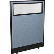 "Office Partition Panel with Partial Window & Pass-Thru Cable, 36-1/4""W x 46""H, Blue"