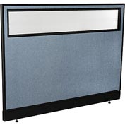 "Office Partition Panel with Partial Window & Pass-Thru Cable, 60-1/4""W x 46""H, Blue"