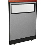 "Deluxe Office Partition Panel with Partial Window & Pass-Thru Cable, 36-1/4""W x 47-1/2""H, Gray"
