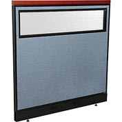 "Deluxe Office Partition Panel with Partial Window & Pass-Thru Cable, 48-1/4""W x 47-1/2""H, Blue"