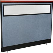 "Deluxe Office Partition Panel with Partial Window & Pass-Thru Cable, 60-1/4""W x 47-1/2""H, Blue"