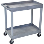 Luxor® EC11 E-Series Gray 2-Shelf Tub Cart 35-1/4 x 18 400 Lb. Cap.