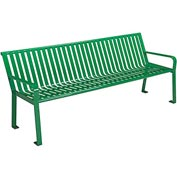 6' Steel Slat Park Bench