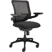 Multifunction Ergonomic Office Chair with Arms - Fabric - Black