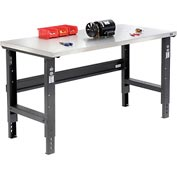 "60""W X 30""D Stainless Steel Square Edge Workbench - Adjustable Height - Black"