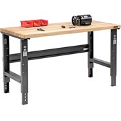 "60""W X 36""D Maple Butcher Block Square Edge Workbench - Adjustable Height - Black"
