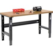 "60""W X 36""D Shop Top Square Edge Workbench - Adjustable Height - Black"
