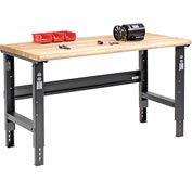 "60""W X 30""D Maple Butcher Block Safety Edge Workbench - Adjustable Height - Black"