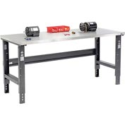 "72""W X 30""D Stainless Steel Square Edge Workbench - Adjustable Height - Black"