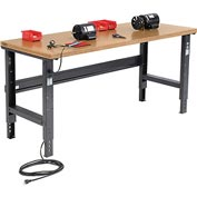 "72""W X 36""D Shop Top Square Edge Workbench - Adjustable Height - Black"