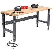 "72""W X 36""D Ash Butcher Block Safety Edge Workbench - Adjustable Height - Black"