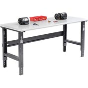"72""W X 30""D Plastic Laminate Safety Edge Workbench - Adjustable Height - Black"