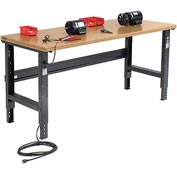 "72""W X 30""D Shop Top Safety Edge Workbench - Adjustable Height - Black"