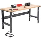 "72""W X 36""D Maple Butcher Block Square Edge Workbench - Adjustable Height - Black"