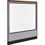 "Interion Deluxe Non-Electric Office Cubicle Panel Full Window & Raceway, 60-1/4""W x 65-1/2""H, Gray"