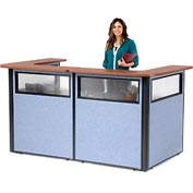 "U-Shaped Reception Station with Window, 88"" W x 44""D x 44""H, Cherry Counter, Blue Panel"