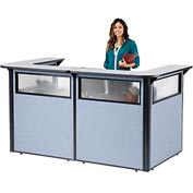 "U-Shaped Reception Station with Window, 88"" W x 44""D x 44""H, Gray counter, Blue Panel"