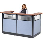 "U-Shaped Reception Station with Window and Raceway, 88""W x 44""D x 46""H, Cherry Counter"