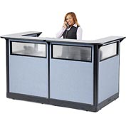 "Interion U-Shaped Reception Station with Window & Raceway, 88""Wx 44""Dx 46""H, Gray Counter/Blue Panel"
