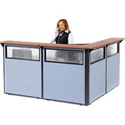 "Interion L-Shaped Reception Station with Window, 80""W x 80""D x 44""H, Cherry Counter, Blue Panel"