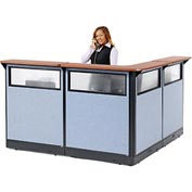 "Interion L-Shaped Reception Station with Window & Raceway, 80""W x 80""D x 46""H, Cherry Counter, Blue"