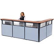 "L-Shaped Reception Station with Window, 116""W x 80""D x 44""H, Cherry Counter, Blue Panel"