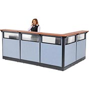 "Interion L-Shaped Reception Station with Window & Raceway, 116""W x 80""D x 46""H, Cherry Counter, Blue"