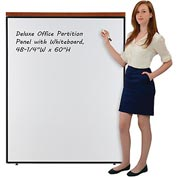 "Deluxe Office Partition Panel with Whiteboard, 48-1/4""W x 61-1/2""H"