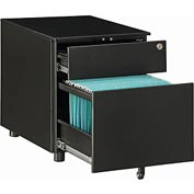 Interion® 2-Drawer Under-Desk File Cabinet for Single & Double Open Office Desks, Black