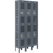 Infinity™ Heavy Duty Ventilated Steel Locker, Double Tier, 3-Wide, 12x15x36, Unassembled, Gray