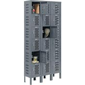 Infinity™ Heavy Duty Ventilated Steel Locker, Six Tier, 3-Wide, 12x12x12, Unassembled, Gray