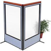 "Deluxe Freestanding 2-Panel Corner Room Divider with Full Window, 36-1/4""W x 61-1/2""H, Blue"