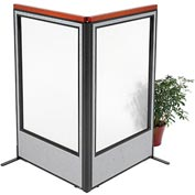 "Deluxe Freestanding 2-Panel Corner Room Divider with Full Window, 36-1/4""W x 61-1/2""H, Gray"