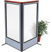 "Interion Deluxe Freestanding 2-Panel Corner Room Divider with Full Window, 36-1/4""W x 73-1/2""H, Blue"