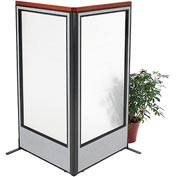 "Deluxe Freestanding 2-Panel Corner Room Divider with Full Window, 36-1/4""W x 73-1/2""H, Gray"