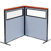 "Interion Deluxe Freestanding 2-Panel Corner Divider with Partial Window, 36-1/4""W x 43-1/2""H, Blue"