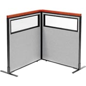 "Deluxe Freestanding 2-Panel Corner Divider with Partial Window, 36-1/4""W x 43-1/2""H Panels, Gray"