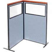 "Interion Deluxe Freestanding 2-Panel Corner Divider with Partial Window, 36-1/4""W x 61-1/2""H, Blue"