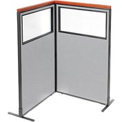 "Interion Deluxe Freestanding 2-Panel Corner Divider with Partial Window, 36-1/4""W x 61-1/2""H, Gray"
