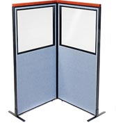 "Deluxe Freestanding 2-Panel Corner Divider with Partial Window, 36-1/4""W x 73-1/2""H, Blue"