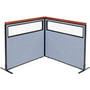 "Interion Deluxe Freestanding 2-Panel Corner Divider with Partial Window, 48-1/4""W x 43-1/2""H, Blue"