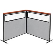 "Deluxe Freestanding 2-Panel Corner Divider with Partial Window, 48-1/4""W x 43-1/2""H, Gray"