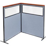 "Interion Deluxe Freestanding 2-Panel Corner Divider with Partial Window, 48-1/4""W x 61-1/2""H, Blue"