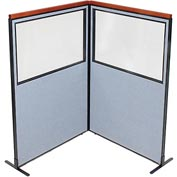 "Interion Deluxe Freestanding 2-Panel Corner Divider with Partial Window, 48-1/4""W x 73-1/2""H, Blue"