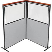 "Deluxe Freestanding 2-Panel Corner Divider with Partial Window, 48-1/4""W x 73-1/2""H, Gray"