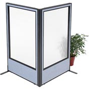 "Freestanding 2-Panel Corner Room Divider with Full Window, 36-1/4""W x 60""H Panels, Blue"