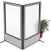 "Interion Freestanding 2-Panel Corner Room Divider with Full Window, 36-1/4""W x 60""H Panels, Gray"