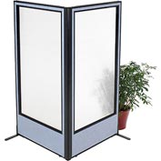 "Interion Freestanding 2-Panel Corner Room Divider with Full Window, 36-1/4""W x 72""H Panels, Blue"
