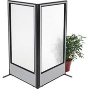 "Freestanding 2-Panel Corner Room Divider with Full Window, 36-1/4""W x 72""H Panels, Gray"