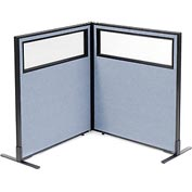 "Interion Freestanding 2-Panel Corner Room Divider with Partial Window, 36-1/4""W x 42""H Panels, Blue"
